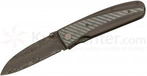 Tim Britton Knives Custom Recondo Folding 3.5 inch Damascus Sheepsfoot Blade, Titanium and Carbon Fiber Handle