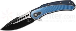 Todd Begg Steelcraft Series Bodega Flipper 3.75 inch S35VN Two-Tone Blade, Milled Blue and Silver Fan Milled Titanium Handles