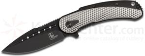Todd Begg Steelcraft Series Mini Bodega Flipper 3 inch S35VN Black PVD Blade, Black Scalloped Pattern Titanium Handles with Silver Accents