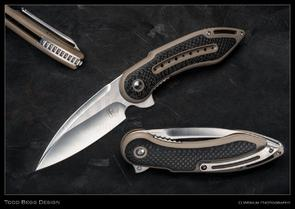 Todd Begg Steelcraft Series Glimpse 7.0 Flipper 3.75 inch S35VN Satin Blade, Smooth Tan G10 Handles with Carbon Fiber Inlays