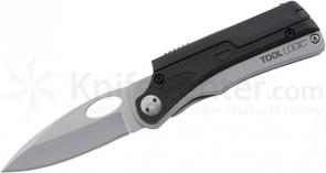 Tool Logic SLP122 Large Low Profile Folding 3 inch Satin Plain Blade with Magnesium Fire Steel