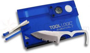 Tool Logic® Survival I™ Blue Ultra Slim Card Tool with Compass & 8x Power Lens