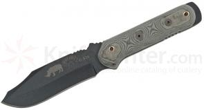 TOPS Knives Black Rhino Fixed 5 inch Carbon Steel Blade, Micarta Handles