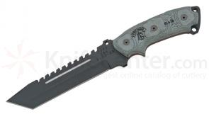 TOPS Knives Steel Eagle 107D Fixed 7 inch 1095 Carbon Tanto Blade, Micarta Handle, Nylon Sheath