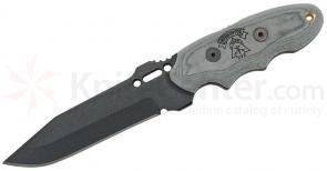 TOPS Knives Interceptor 331 Police Utilty Fixed 4 inch 1095 Black Drop Point Blade, Linen Micarta Handles, Kydex Sheath