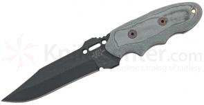 TOPS Knives Interceptor 351 River Hunter 4 inch Black 1095 Carbon Blade, Linen Micarta Handles, Kydex Sheath