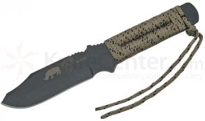 TOPS Knives Black Rhino Fixed 5 inch 1095 Carbon Blade, Paracord Wrapped Handle, Kydex Sheath
