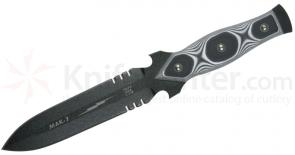 TOPS Knives MAK 7 Military Assault Knife 6-3/4 inch 1095 Carbon Double Edge Blade, Black/White G10 Handles