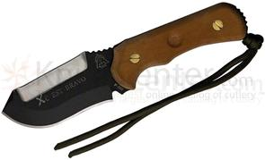 TOPS XcEST Bravo Fixed 3-3/8 inch Blade, Sharpened Top Edge, Brown Micarta Handles, Survival Kit, Nylon Sheath