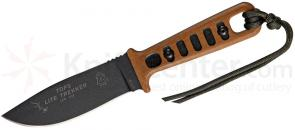 TOPS Knives Lite Trekker Fixed 3-5/8 inch 1095 Blade, Tan Canvas Micarta Handles with Black Inlays (TLT-01-OB)