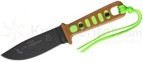 TOPS Knives Lite Trekker Fixed 3-5/8 inch 1095 Blade, Tan Canvas Micarta Handles with Survival Green Inlays (TLT-01-SG)
