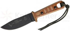 TOPS Knives Lite Trekker Fixed 3-5/8 inch 1095 Blade, Tan Canvas Micarta Handles with Tan Inlays (TLT-01-T)