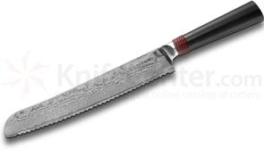 TUO Cutlery Ring 9 inch Damascus Bread Knife, Black and Red G10 Handle
