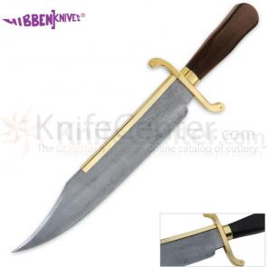 United Gil Hibben Old West Bowie Knife 14 inch Damascus Blade, Hardwood Handles