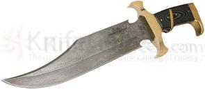 United Gil Hibben 2011 Eclipse Bowie Limited Gold & Damascus Edition 11-3/8 inch Blade, Micarta Handles