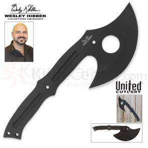 United Cutlery Wesley Hibben Cloak Throwing Axe 13-7/8 inch Overall with Leather Sheath