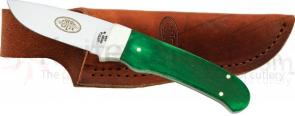Utica Big Pine Caping Knife Fixed 2-3/4 inch Carbon Steel Blade, Green Bone Handles