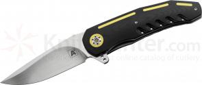 Andre van Heerden/Andre Thorburn Custom A3 Flipper 3.625 inch N690 Satin Blade, Black G10 Handles with Yellow G10 Inlays