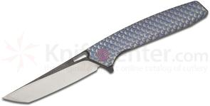 We Knife Company 604D Flipper 3.82 inch S35VN Two-Tone Tanto Blade, Blue Dragon Scale Titanium Handles