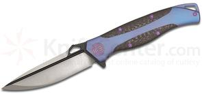 We Knife Company 606CFA Flipper 3.5 inch S35VN Two-Tone Blade, Blue Anodized Titanium Handles with Carbon Fiber Inlays