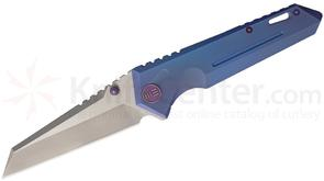 We Knife Company 609D Folding Knife 4.1 inch S35VN Two-Tone Reverse Tanto Blade, Blue Anodized Titanium Handles