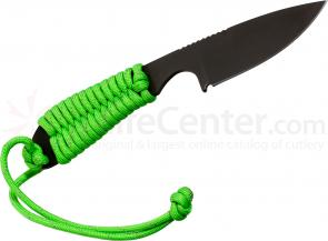 White River Knives Backpacker Fixed 3.25 inch S30V Black ionbond Blade, Reflective Neon Green Paracord Handle, Kydex Sheath