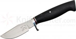 White River Knives Clip Point Hunter Fixed 3.25 inch 52100 Carbon Blade, Black Micarta Handle, Leather Sheath