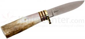 White River Knives Drop Point Hunter Fixed 3.25 inch 52100 Carbon Blade, Antler Handle, Kydex Sheath