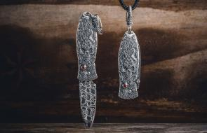 William Henry Morpheus 'Twilight' Pendant Knife, 1.75 inch Intrepid Damascus Blade, Hand Carved Sterling Silver Handles