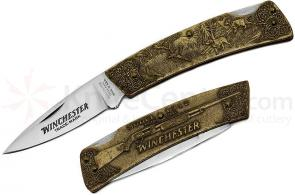 Winchester Model 1912 Commemorative Folding Knife 3 inch Blade, Relief Bronze Handles