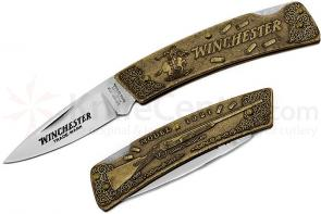 Winchester Model 1921 Commemorative Folding Knife 3 inch Blade, Relief Bronze Handles