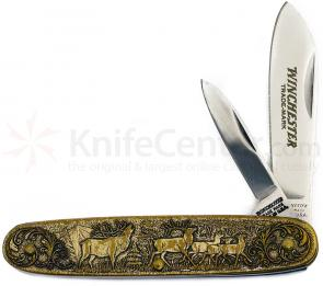 Winchester Model 1895 Commemorative Pen Knife 3-1/2 inch Closed, Relief Bronze Handles
