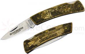 Winchester Model 42 Commemorative Folding Knife 3 inch Blade, Relief Bronze Handles