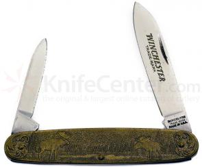 Winchester Model 70 Commemorative Pen Knife 3-1/2 inch Closed, Relief Bronze Handles