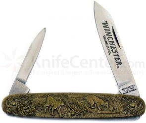 Winchester Model 1907 Commemorative Pen Knife 3-1/2 inch Closed, Relief Bronze Handles