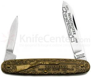 Winchester Model 1873 Commemorative Pen Knife 3-1/2 inch Closed, Relief Bronze Handles