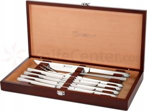 Wusthof 10 Piece Stainless Steel Steak Knife and Carving Set in Rosewood Colored Presentation Box (2010)