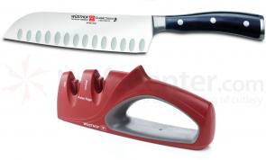 Wusthof Classic Ikon 7 inch Santoku and 2 Stage Knife Sharpener