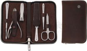 Wusthof 6 Piece Stainless Manicure Set, Cowhide Leather Case