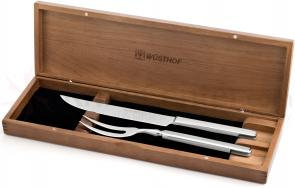 Wusthof 2 Piece Stainless Steel Carving Set with Walnut Case (9711-3)