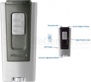 Xikar Trezo Gunmetal Body Inline Triple Flame Butane Lighter