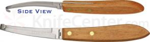 Mustang Equestrian Double Edge Narrow Hoof Pick Knife 3-3/8 inch Blade, Wood Handles