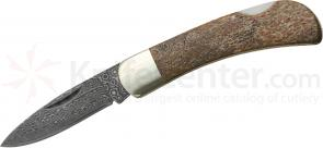 150 Million Year Old Dinosaur Bone Folding Knife 2-1/4 inch Damascus Blade