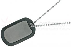 The Original Dog Tag Knife Survival Tool, Titanium Blade, Black Rubber Frame