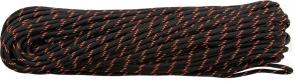 550 Paracord, Black Reflective with Neon Orange Tracer, Nylon Braided, 100 Feet