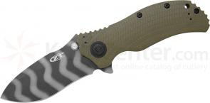Zero Tolerance 0301 Assisted Flipper 3.75 inch S30V DLC Tiger Stripe Plain Blade, Ranger Green G10 and Titanium Back Handles