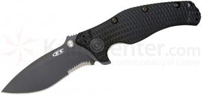 Zero Tolerance Model 0200ST Folding Knife 4 inch Combo Blade, Black G10 Handles