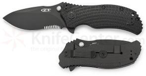 Zero Tolerance Model 0300 Assisted 3-3/4 inch S30V Combo Blade, Black G10 and Titanium Back Handles