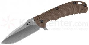 Zero Tolerance 0561ST Folding Knife 3.75 inch ELMAX Stonewash Combo Blade, Flat Dark Earth G10 and Titanium Handles