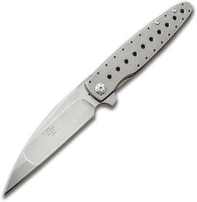 Brad Zinker Custom TD Wharncliffe Flipper 3.375 inch CPM-154 Stonewashed Blade, Small Hole Milled Titanium Handles